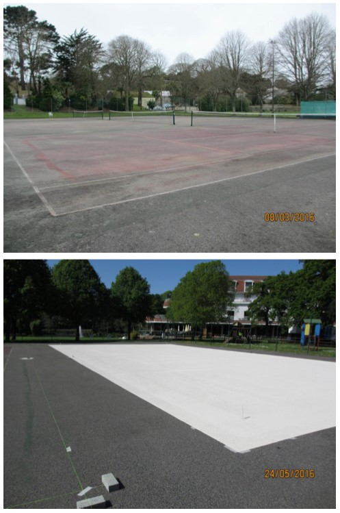 Pre-treatment for macadam surfaces