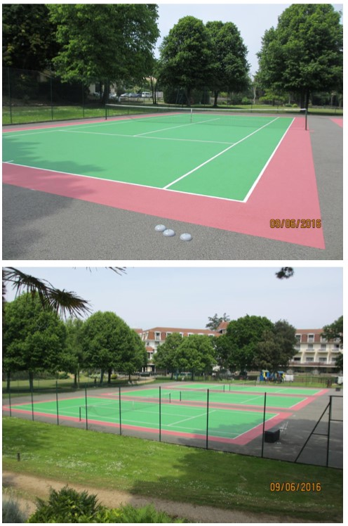 Paint for hard surface tennis courts, guernsey